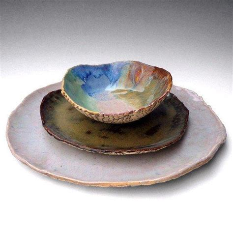 Pottery Dinnerware Sets Handmade - rustic stoneware pottery dinnerware set from oneclaybead