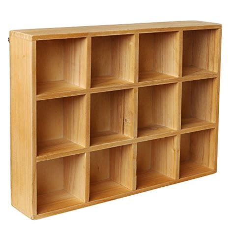 wood box shelves wooden freestanding wall mounted 12 compartment shadow box