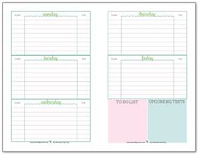 Home Planner Free weekly student planner printable half size recommended for middle