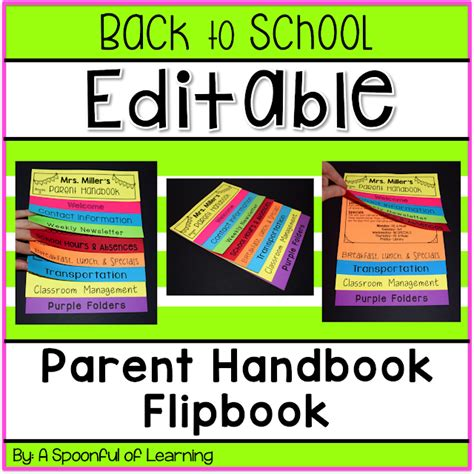 A Spoonful Of Learning Back To School Parent Handbook Flip Book Flip Book Templates For Teachers