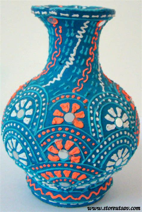 Indian Handmade Crafts - home decor clay vase handmade indian handicraft brush