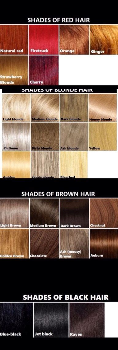 different shades of red for hair color different shades of blonde brown red and black hair