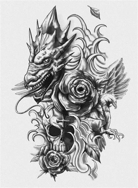 rose dragon tattoo grey flowers and skull design