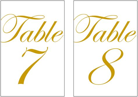 4x6 printable table numbers 4x6 printable gold color table numbers for wedding or