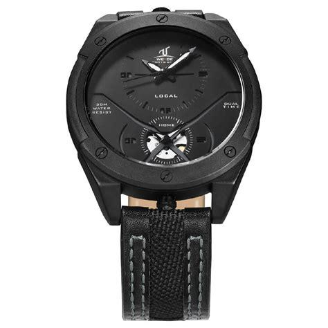 Jam Tangan Pria Weide Leather Jam Tangan Kulit Wa Berkualitas 1 weide jam tangan kulit analog pria uv1703 black black