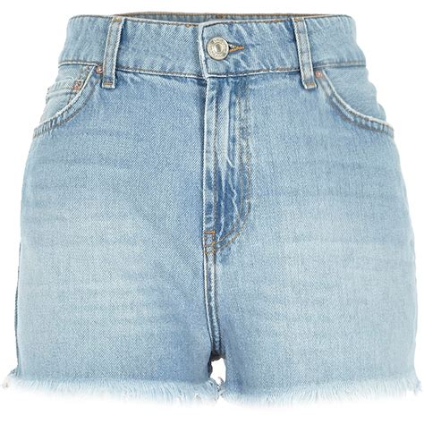 light blue shorts lyst river island light wash high rise darcy denim