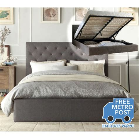bed frame lift chester fabric bed frame in grey w gas lift buy