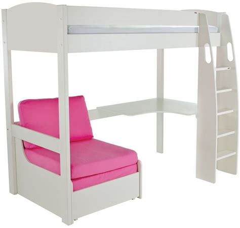 white high sleeper with futon buy stompa white high sleeper frame including desk and