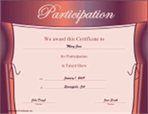 talent show certificate template certificates of participation free printable certificates