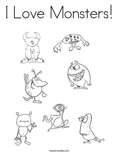 love monster coloring pages i love monsters coloring page twisty noodle
