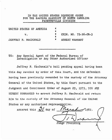 Carolina Arrest Warrant Search Arrest Warrent For Jeffrey Macdonald March 1982 Jeffrey