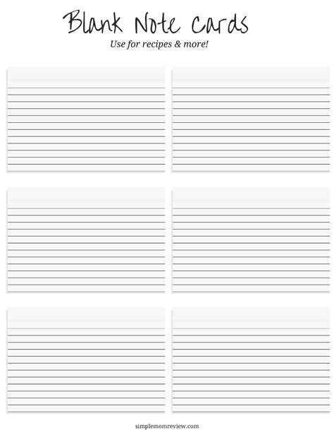 printable blank note cards free blank note cards free printable simple mom review