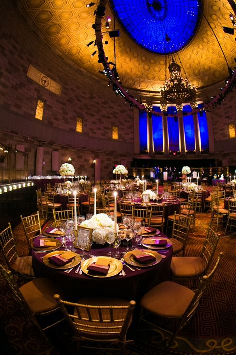Golden Home Decor by Reception D 233 Cor Photos Gotham Hall Purple Amp Gold Wedding