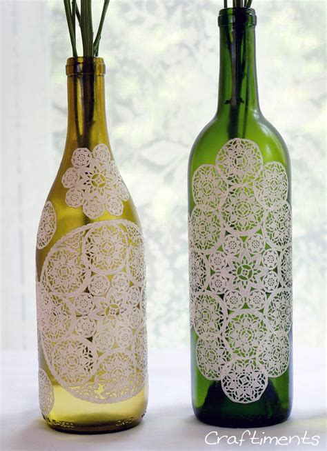 Decoupage Wine Bottles - paper doily decoupaged bottle make beautiful vases from
