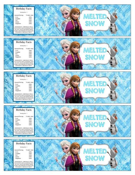 printable frozen labels melted snow labels google search disney frozen