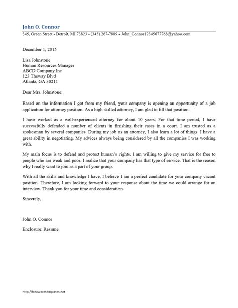 Employment Attorney Cover Letter by Attorney Cover Letter