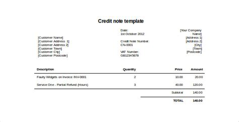 credit note template doc credit invoice template invoice template 2017