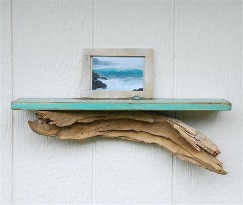 distressed driftwood shelf 24 quot teal beach shelf with