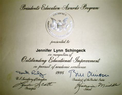 Gold Award Letter President Schingeck
