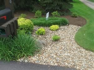 Landscape Rock Cost Per Yard Edges Perennials Barberrys River Gravel And Mulch