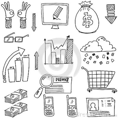 doodle and draw set doodle of business set had draw stock vector image 75828508