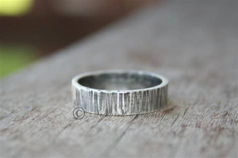 Bark Design Wedding Ring by Sterling Silver Tree Bark Textured Ring Band Wood Grain