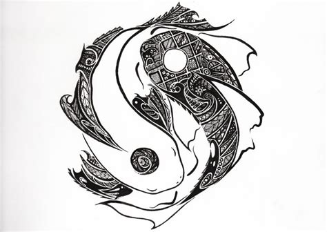 yin yang koi fish tattoo tribal yinyang koi design ideas koi