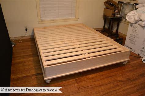 raised platform bed frame diy stained wood raised platform bed frame part 1 wood