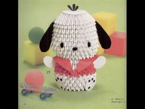 3d origami dog tutorial how to make 3d origami dog pochacco cartoon hướng dẫn