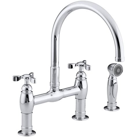 bridge kitchen faucets kohler parq 2 handle bridge kitchen faucet with side sprayer in polished chrome k 6131 3 cp