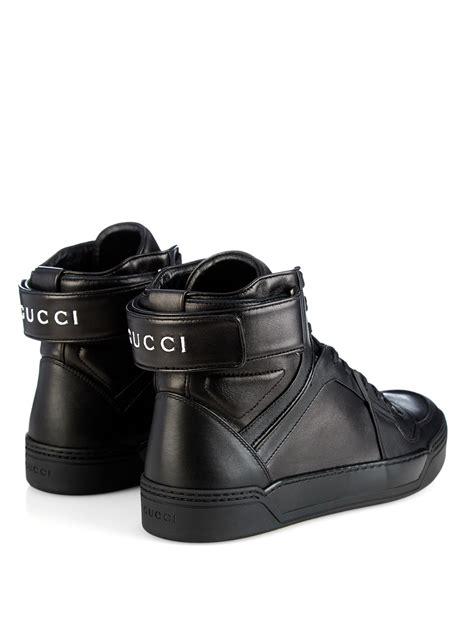 gucci leather high top sneaker black gucci high top leather sneakers in black for lyst