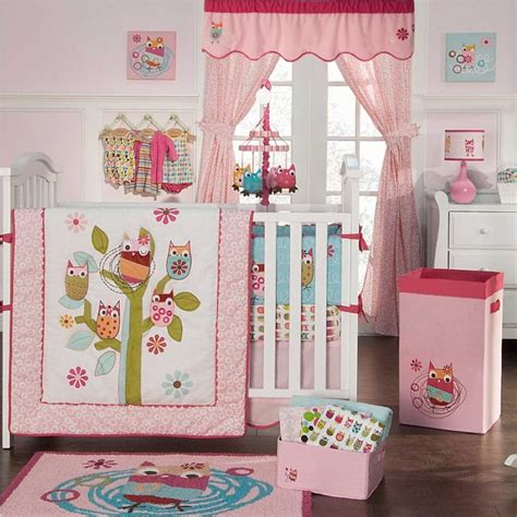 Owl Themed Crib Bedding Sets Baby Nursery Cheerful Baby Room Decoration Using White Crib And Pink White Owl Bedding Also