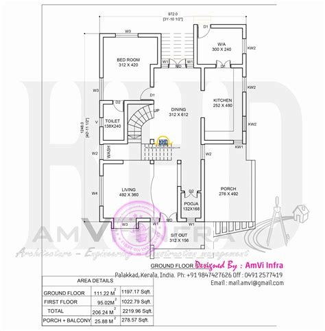 floor plan and elevation of 2203 square feet 205 square plan and elevation of 2219 square feet house home kerala