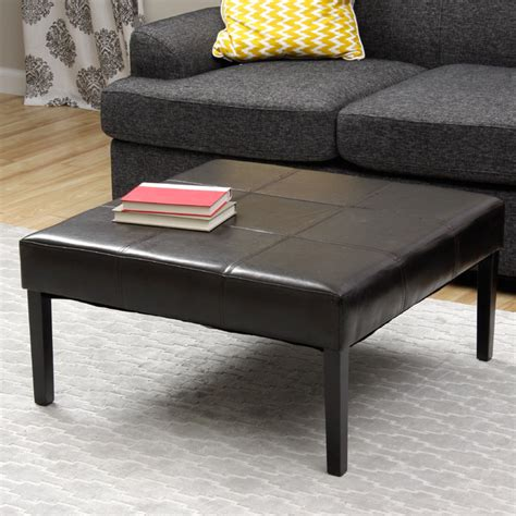 leather square ottoman coffee table square faux leather coffee table ottoman contemporary