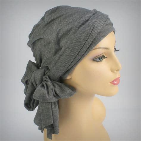 gray turban wrap alopecia chemo scarf jersey