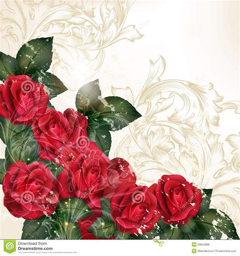 Background Design Red Rose | grunge vector background in vintage style with rose