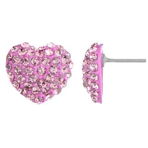 pink earrings celebrity pink heart earrings pink diamond earrings 10k white gold