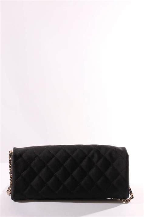 chanel satin camellia clutch bag blackwhitesilver