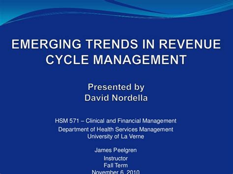 Mba In Revenue Management by Emerging Trends In Revenue Cycle Management Presentation