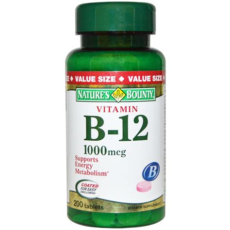 Vitamin B12 Nature S Bounty Vitamin B 12 1000 Mcg 200 Tablets