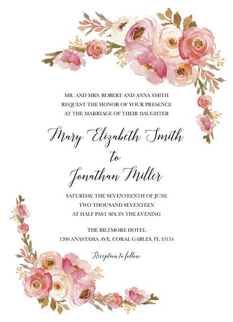 wedding invitation card template blush blush wedding invitation pink floral wedding invitation