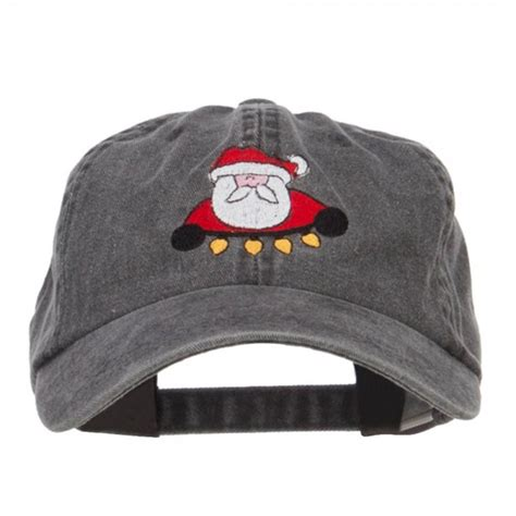 embroidered cap black santa with christmas lights cap