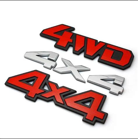 Emblem 4 X 4 Original Auto aluminum alloy car metal chrome 3d sticker 4x4 4wd v6 displacement emblem badge truck auto motor jpg