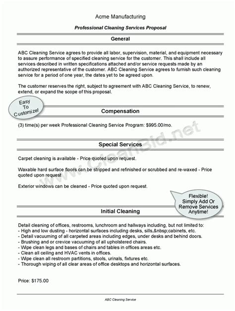 6 Cleaning Proposal Templates Proposal Template Rfp For Cleaning Services Template