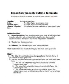 Topic Presentation Outline by 6 Speech Outline Exles Sles