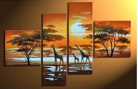 hand painted wall art the giraffe sun home decoration