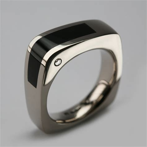 Handmade Mens Rings Uk - bespoke ring in 18 carat white gold onyx