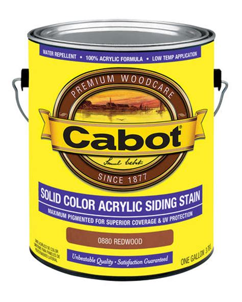 cabot redwood solid color acrylic siding stain  gal