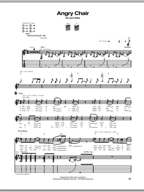 Angry Chair Lyrics by Angry Chair By In Chains Guitar Tab Guitar