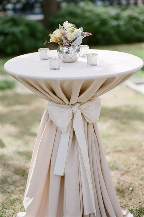 for cocktail tables white linen with black bow and small